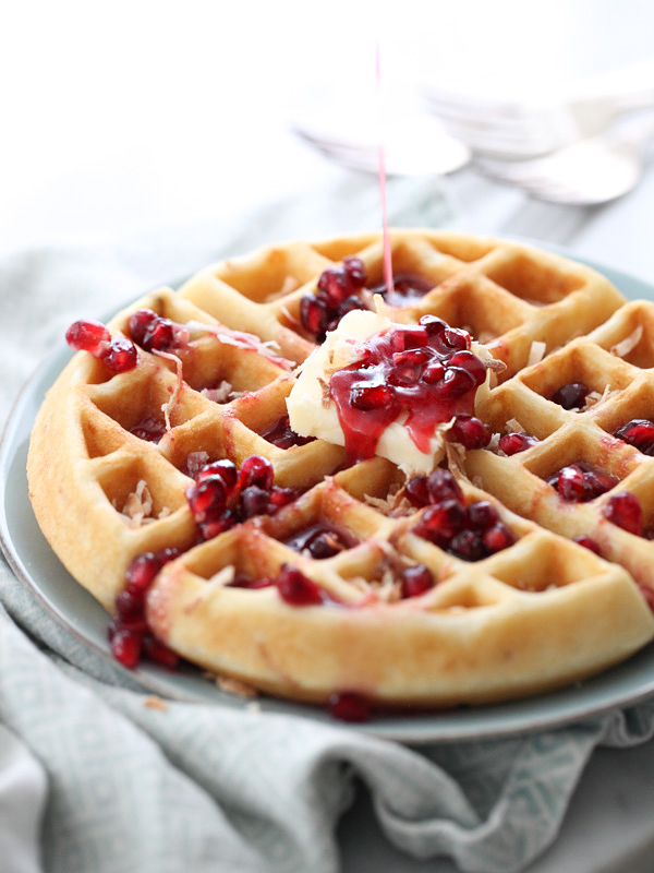 Coconut Waffles with Pomegranate Syrup